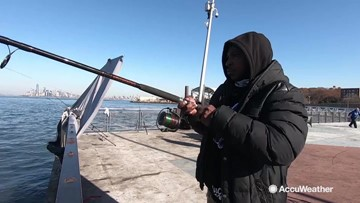 Urban fishing in cold weather