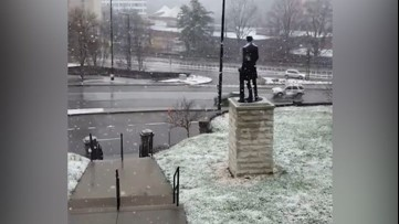 Big snow flakes turn this university into a snow globe