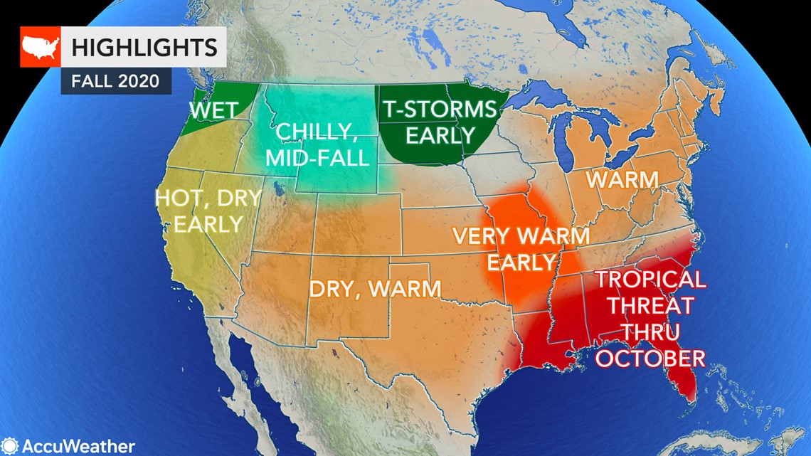 Us Weather Map Florida Fall forecast: Where will autumn weather arrive first in the US