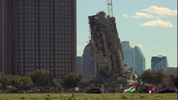 Spectators brave wind to witness 'Leaning Tower of Dallas'