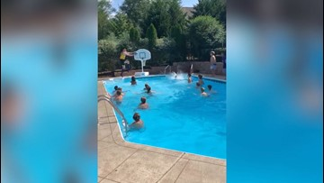 Slam Dunk! Kids Pull of Epic 26-Throw Poolside Trick Shot