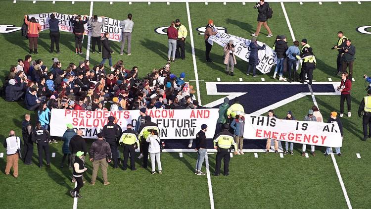 Harvard Yale Protest Football AP