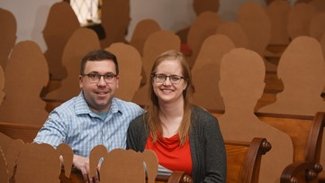 Cardboard cutouts pose as guests for wedding amid COVID-19