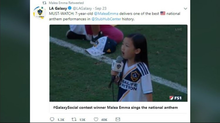 7-year-old crushes national anthem. Take a listen