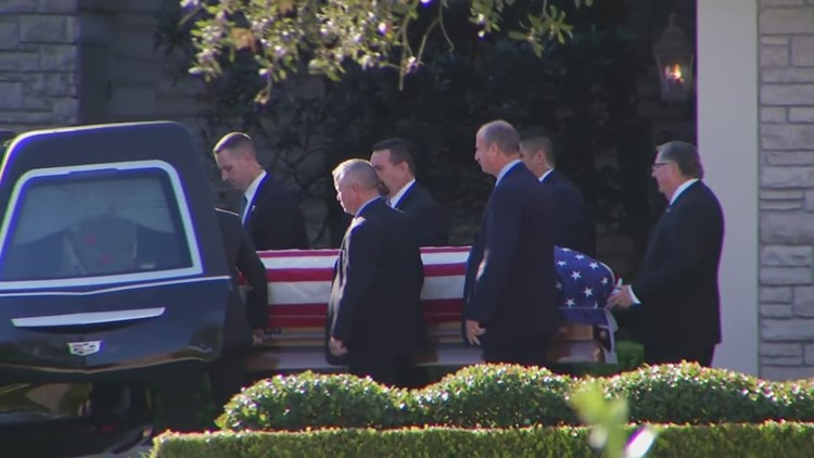 Hearse Carrying George H W Bush Departs Funeral Home