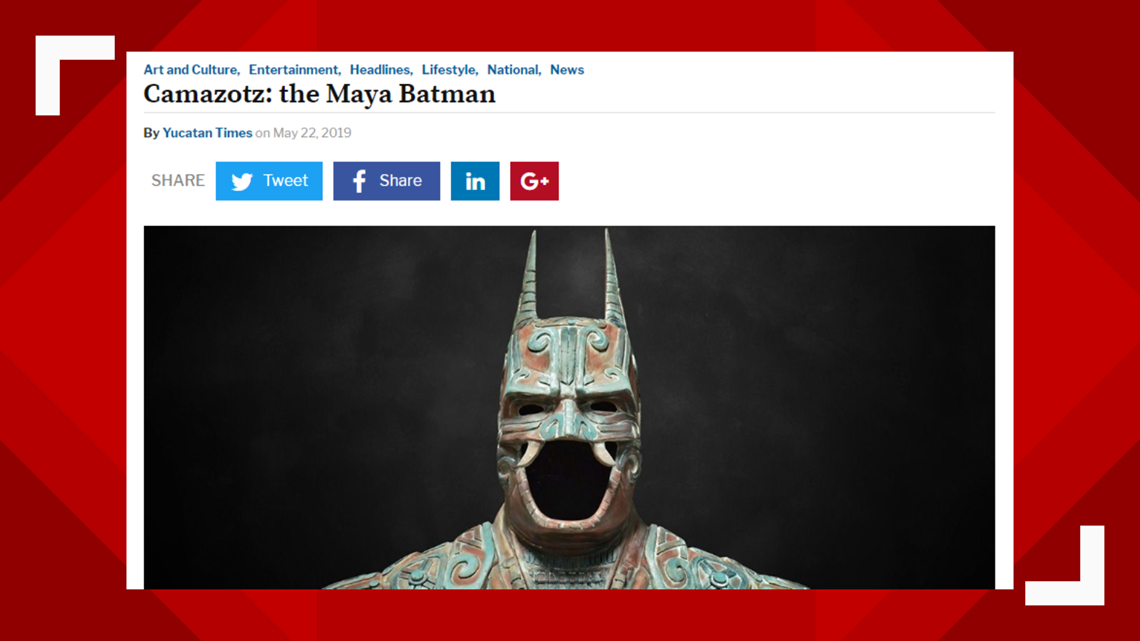 VERIFY: No, the Mayans didn't make a 'Batman'  sculpture