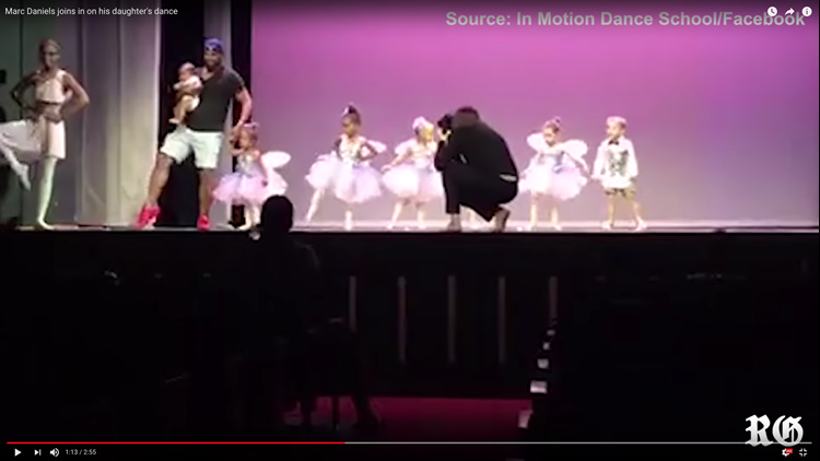 "The dad who rescued his crying, scared daughter onstage is dubbed ""Daderina"" by the Internet."