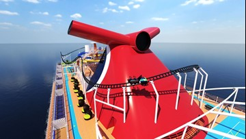 Carnival unveils first roller coaster at sea
