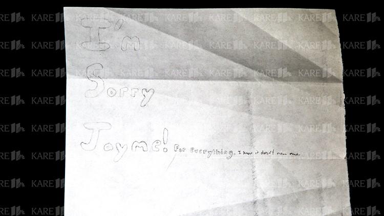 """""""I'm sorry Jayme"""" on back of Jake Patterson letter"""