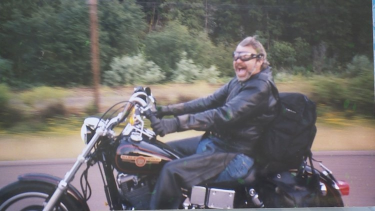 Dick Young on his motorcycle