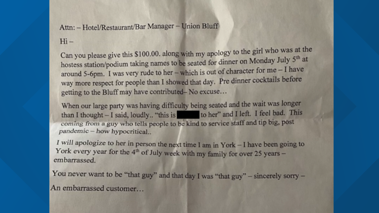 Maine hostess receives $100 and apology letter from rude customer
