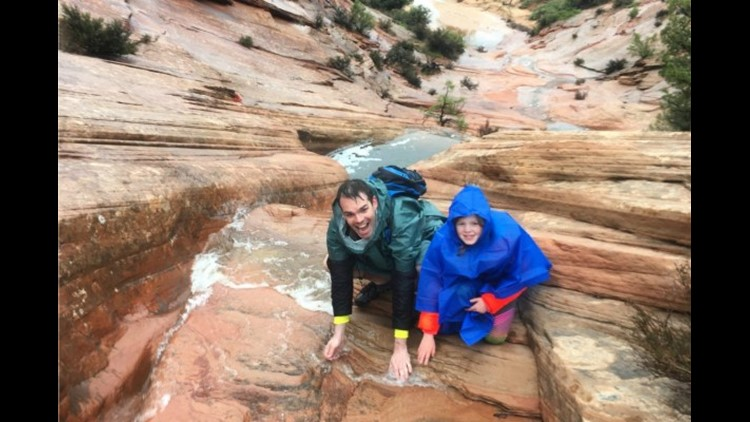 Adventuring safely while hiking a waterfall trail in Zion National Park. (Image by Leslie Harvey)