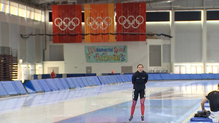 Heather Bergsma skates during training for her third Olympics.
