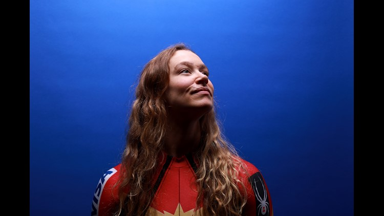 PARK CITY, UT - SEPTEMBER 25: Alpine skier Laurenne Ross poses for a portrait during the Team USA Media Summit ahead of the PyeongChang 2018 Olympic Winter Games on September 25, 2017 in Park City, Utah.