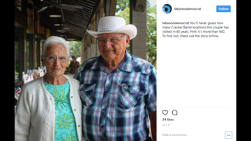 This elderly couple has visited all but one of America's Cracker Barrels