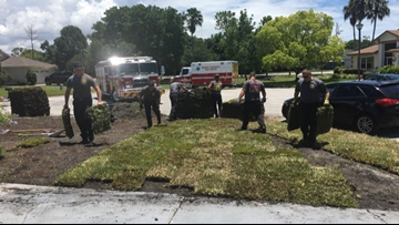 Firefighters head back to family's home to finish lawn work after husband's heart attack