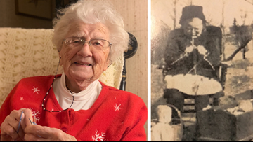 104-year-old woman, living on her own, has been knitting for over a century