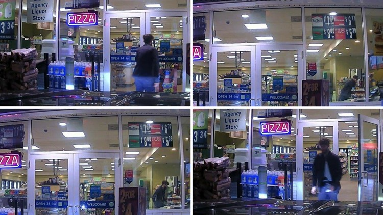 A robber, identified by police as John Williams, is photographed by a security camera at a Cumberland Farms in Norridgewock on Apr. 25, 2018