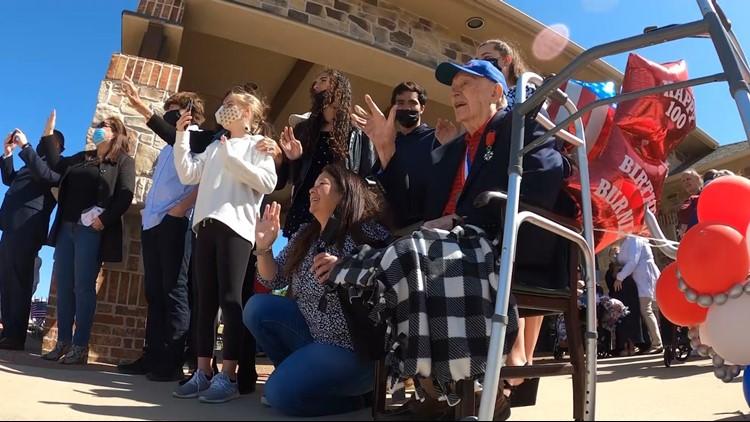 Family, community celebrates WWII veteran's 100th birthday with 100-vehicle parade