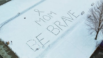 Someone left a Valentine's Day message for mom in snow outside Cleveland Clinic