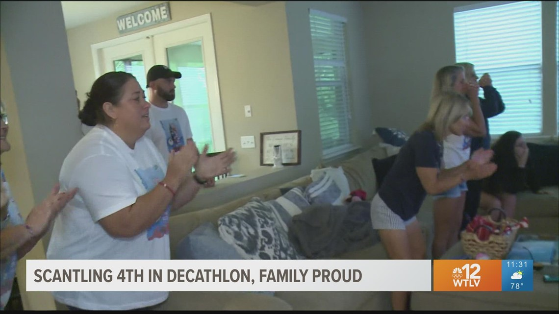Garrett Scantling's family cheers him on as he places 4th in Decathlon