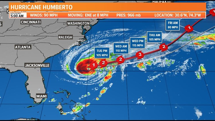 TROPICS UPDATE: Humberto forecast to become a Cat 3 as it moves away; dangerous surf and rips along the First Coast