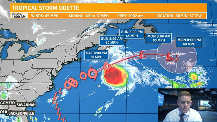 Tropical Storm Odette moves away and watching several other areas in the Atlantic