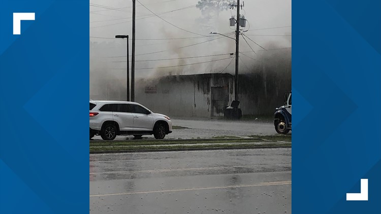 Badcock furnature store catches fire in Folkston, Georgia