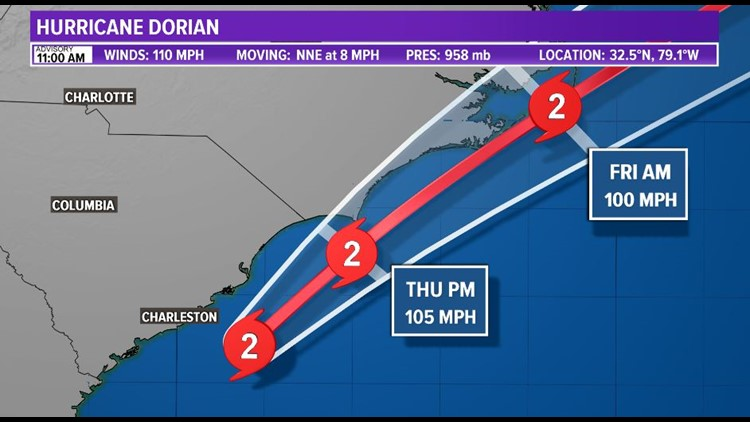 11 a.m. advisory -- Eyewall of Dorian just offshore the eastern coast of South Carolina