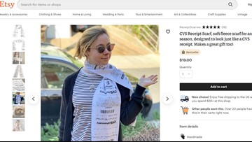 Etsy merchant selling scarf that looks like a CVS receipt