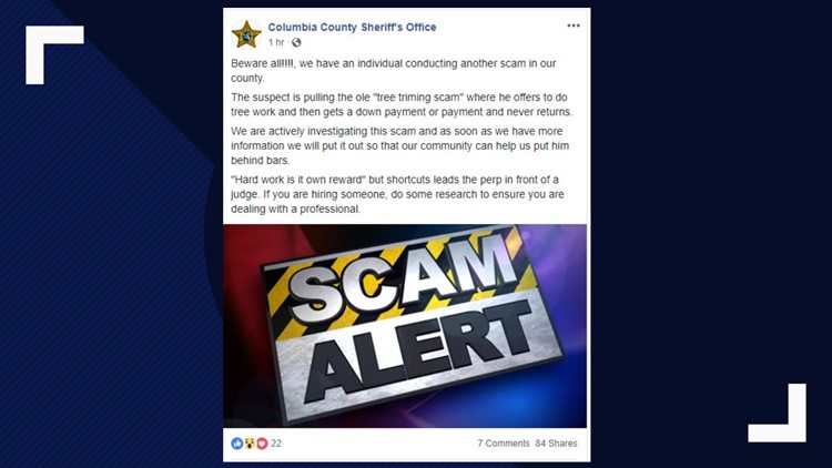 Columbia County tree scammer