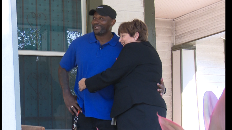 """Jackie Cogdell hugs attorney Teri Sopp outside his Prisoners of Christ house. """"This will always be my favorite person,"""" he laughs."""