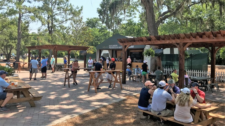 The Hoptinger Bier Garden has seating in the shade of the trees behind 16 Green. PHOTO: Stephanie Danley