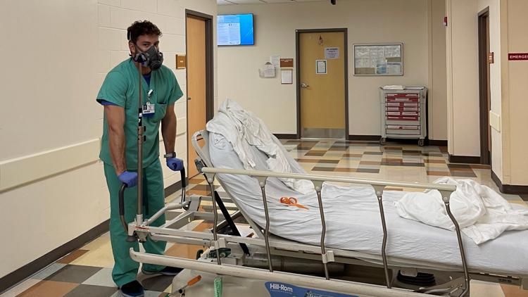 Baptist Health nonclinical staff volunteers to help with cleaning, transporting patients