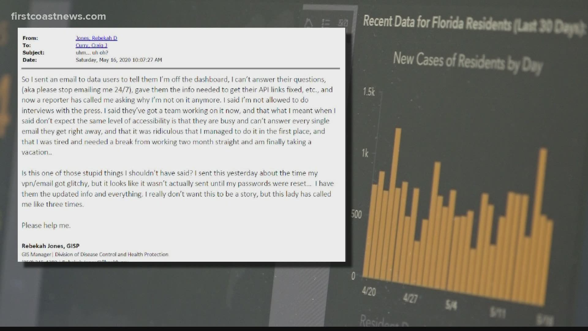 Governor S Office Says Former Manager Of Florida Covid 19 Dashboard Exhibited Insubordination Asked To Resign By Thursday Firstcoastnews Com