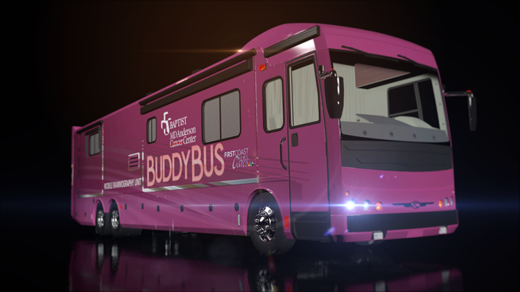 Rendering of the Buddy Bus, a mobile mammography unit