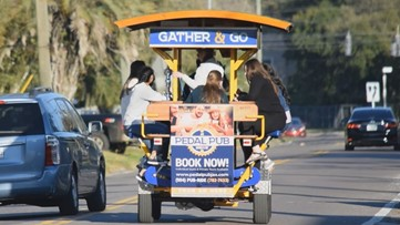 Pedal Pub rolls through Riverside, stopping at multiple local bars, breweries