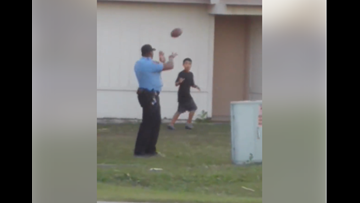 WATCH: Kingsland, Ga. officer plays football with neighborhood teens
