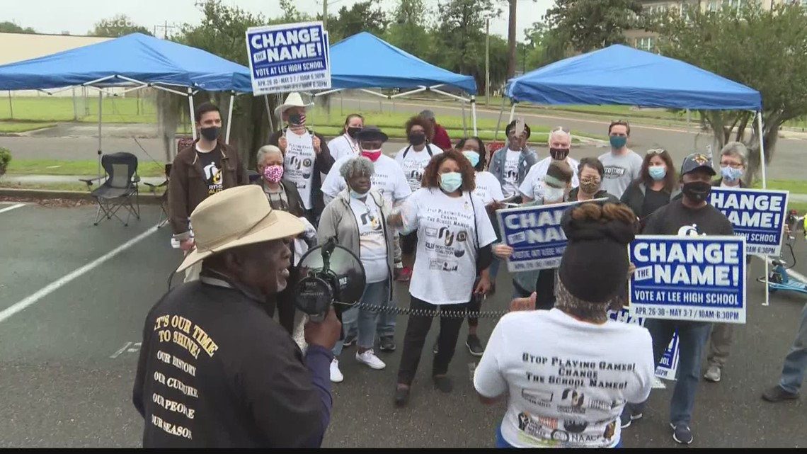 Northside Coalition protests, canvasses to push for renaming of Robert E. Lee High School