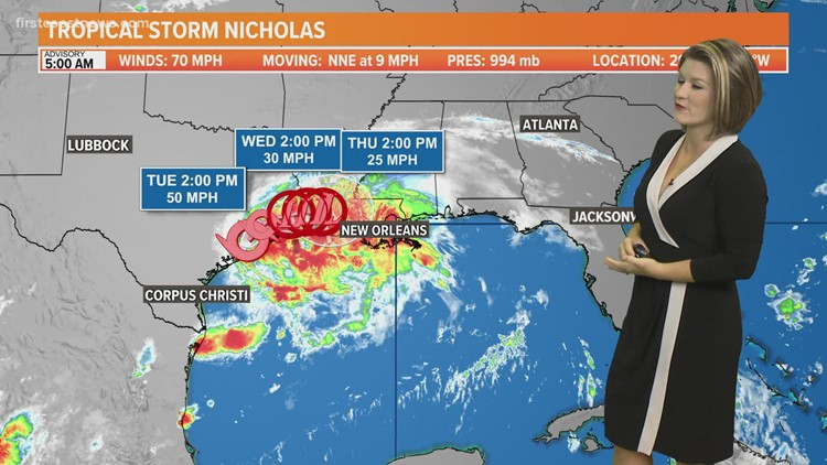 Tracking Nicholas: Storm downgraded to tropical storm as of 5 a.m. Tuesday