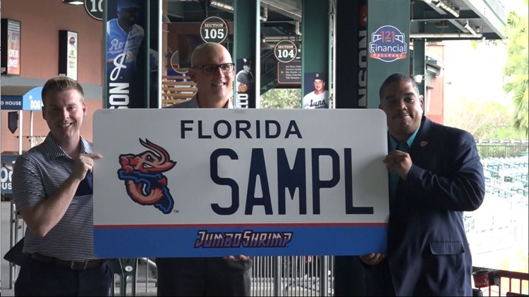 Jumbo Shrimp unveil specialty license plate, bobbleheads