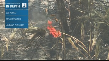 Firefighters continue battle against Yellow Brush Fire in North Jacksonville