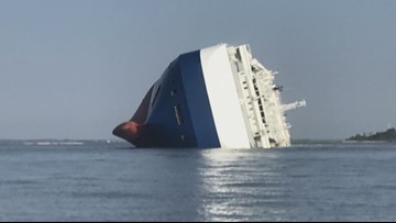 Audio transmissions from marine feeds detailing when cargo ship flipped in St. Simons Island