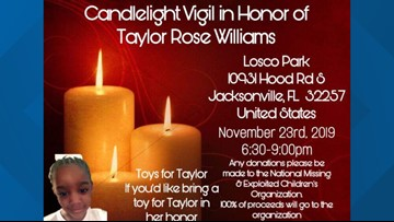 Candlelight vigil, toy drive planned in honor of 5-year-old Taylor Rose Williams