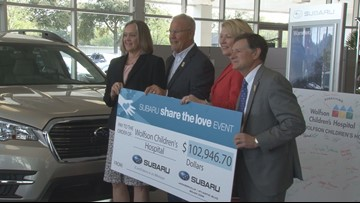 Subaru of Jacksonville shares the love with Wolfson Children's Hospital