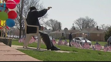WW2 vet honored with a front-yard birthday celebration