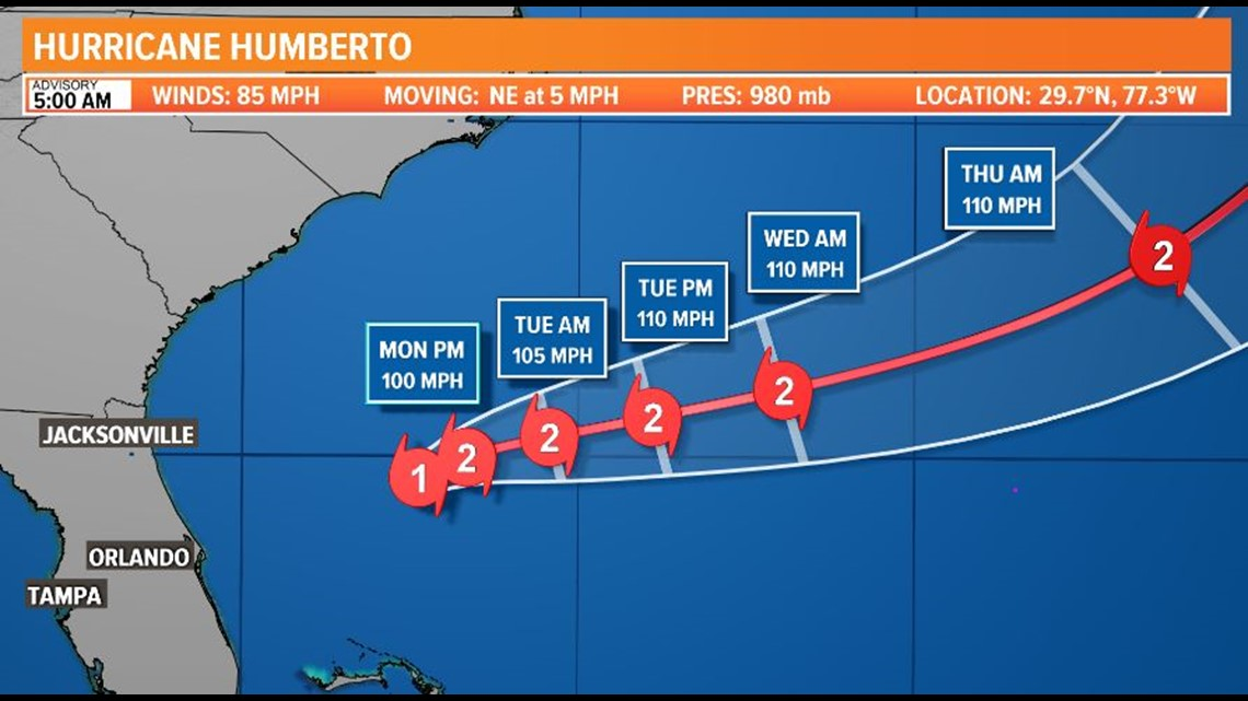 TROPICS UPDATE: Humberto moves away but dangerous surf and seas continue