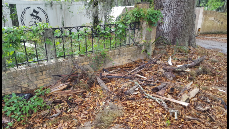 A wooden cross was set ablaze early Sunday in front of the gated home of a local psychiatrist on the city's Southside.