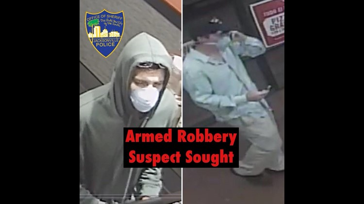 The Jacksonville Sheriff's Office is asking for assistance in tracking down a man who robbed two pizza joints at gunpoint.