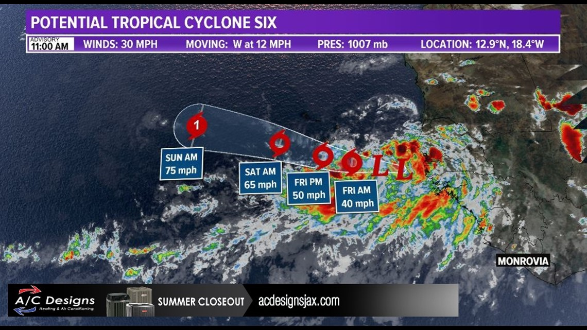 Potential Tropical Cyclone Six forms off African coast; more than 3,000 miles aw...